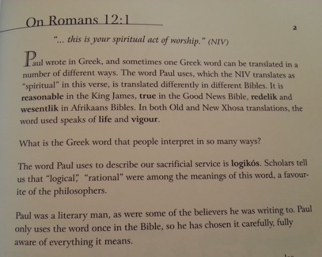 Richards explaination of Romans 12 1