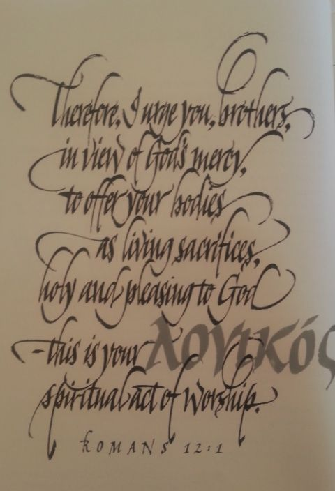 Sample of calligraphy Romans 12 vs 1