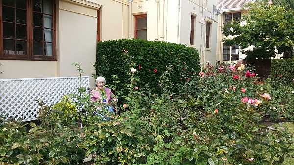 Granny in the rose garden at LCH