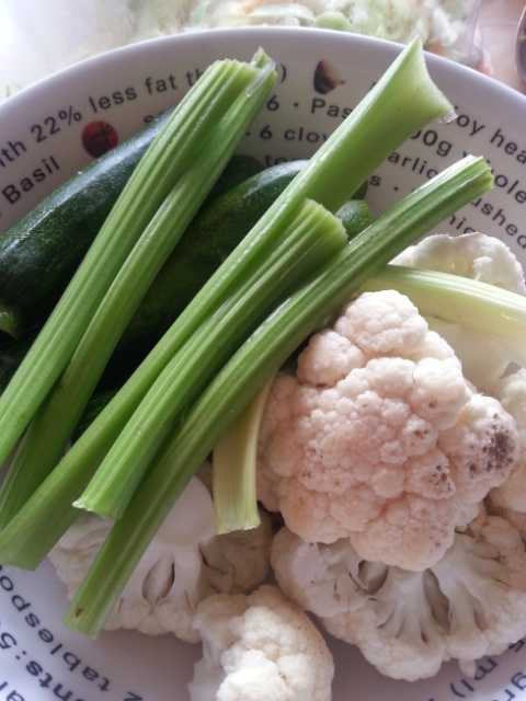 Cauliflower celery and baby marrow
