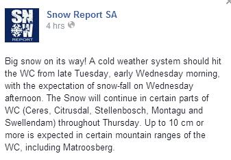 Snow report 1
