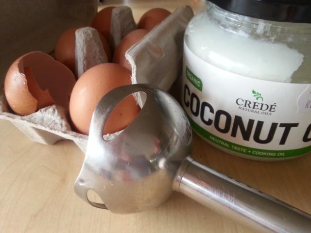 Stick blender eggs and coconut oil
