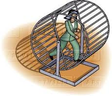 Lady on a hamster wheel