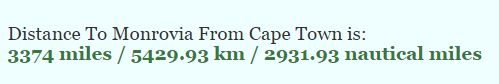Distance from Monrovia to Cape Town