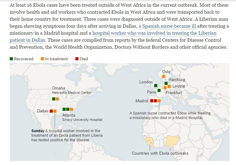 Map of Ebola cases