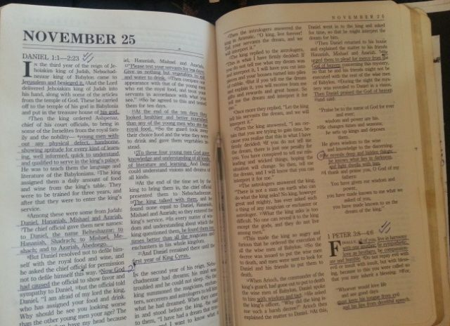 Bible open to 25th November