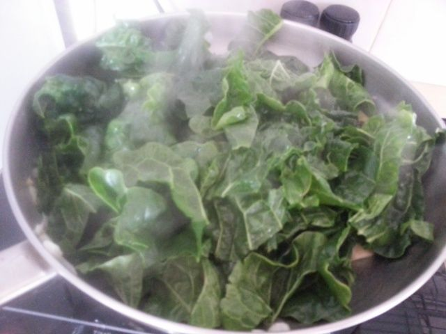Spinach on top