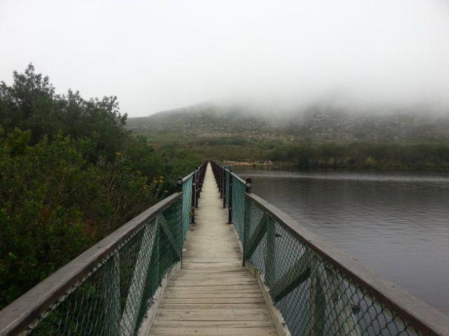 Start of the walk over the Silvermine reservoir bridge