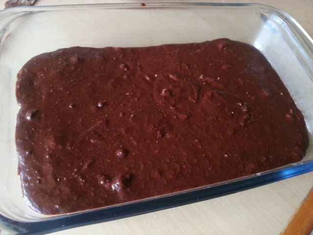 Choc brownies ready for the oven