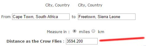 Distance Cape Town To Sierra Leone