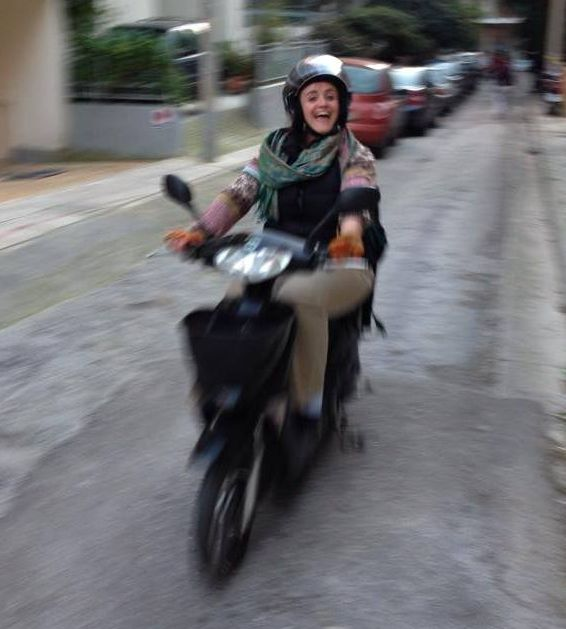Janet on her electric scooter in Athens