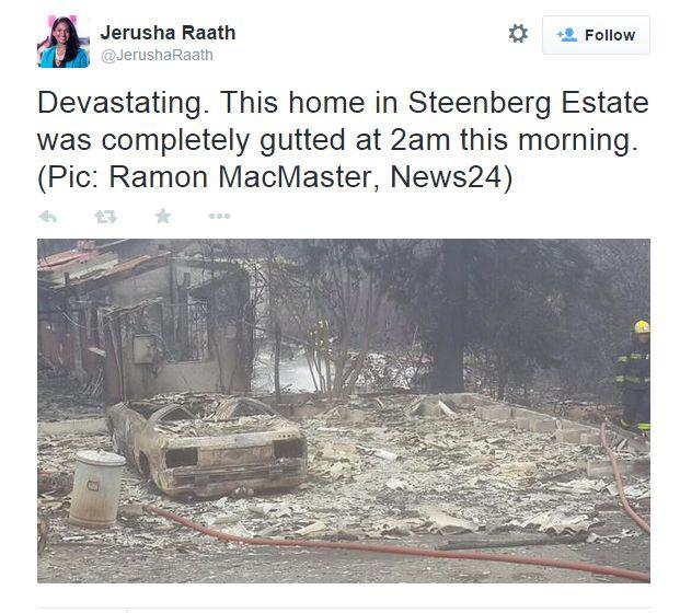 Steenberg Estate house burnt