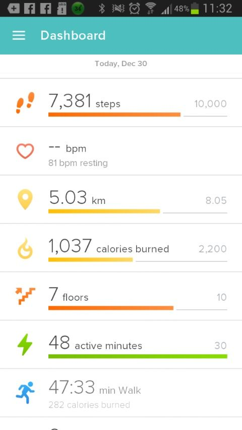 Fitbit stats for 30th Dec 2015